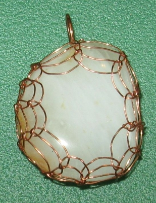 White Quartz Viking Weave Copper Pendant