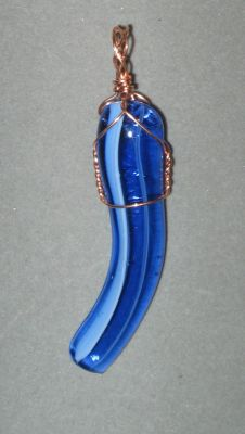 Wire-wrapped Glass Pendant